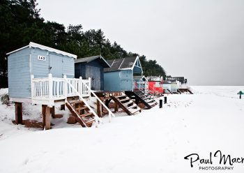 Wells Beach Huts Snow